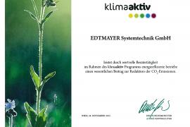 Urkunde Edtmayer Klimaaktiv